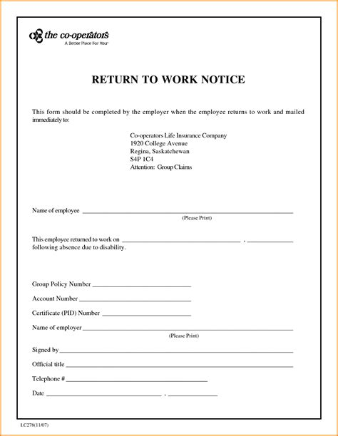 Release Letter From Work 7 sle return to work letter from doctor