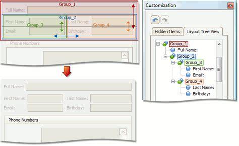 unity nested layout groups view items layout customization expressapp framework