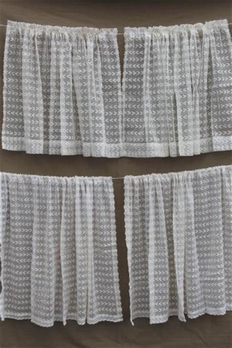 Breezy white vintage summer curtains with dotted swiss look tufted sheer cotton scrim fabric