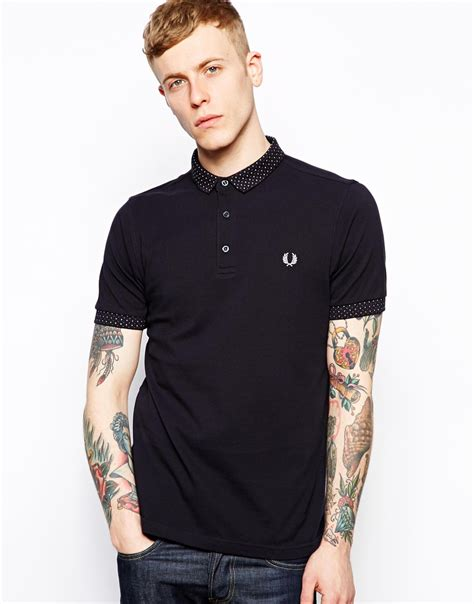 Small Polka Mix Shirt fred perry polo with polka dot small collar exclusive in blue for lyst