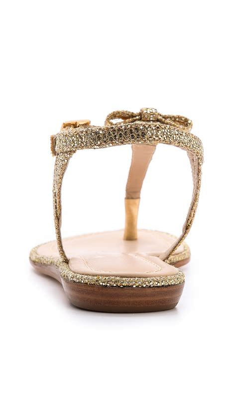 Genevieve Sandals By Kate Spade by Kate Spade New York Andrea Metallic Flat Sandals Gold In