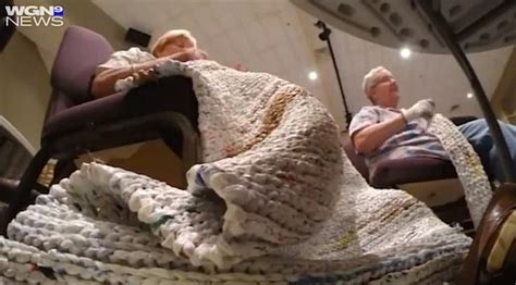 bag ladies turn plastic bags into sleeping mats for the