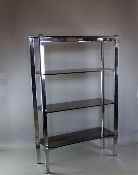merrow associates chrome shelf unit with four smoked glass