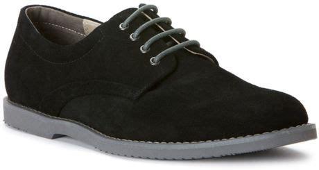 calvin klein felix plain toe suede buck shoe in black for