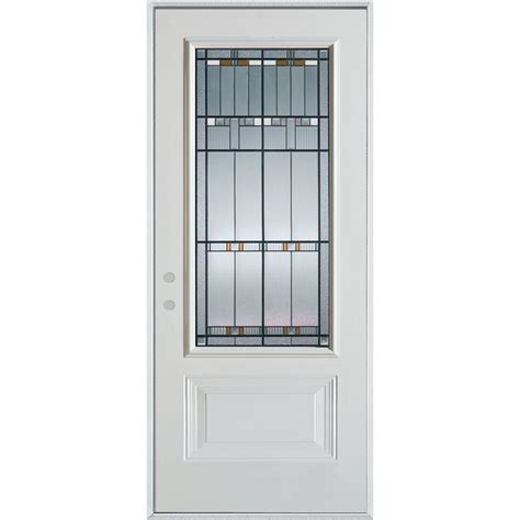 Front Door Panel Stanley Doors 32 In X 80 In Colonial 9 Lite 2 Panel Painted White Steel Prehung Front Door