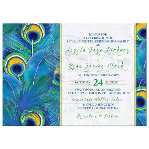 Peacock Wedding Invitations by Peacock Feather Wedding Invitation Watercolor Blue