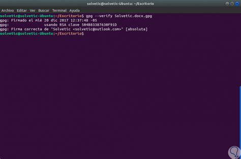 tutorial gpg linux c 243 mo firmar archivos en linux con gpg solvetic