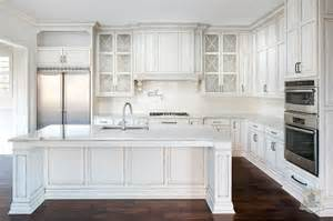 White Cabinets With Glaze White Kitchen With White Glazed Grid Backsplash Tiles