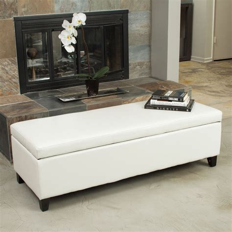 Living Room Storage Ottoman | living room ivory leather storage ottoman bench ebay