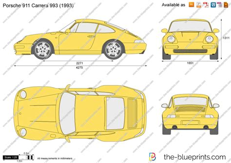 porsche vector the blueprints com vector drawing porsche 911 carrera 993