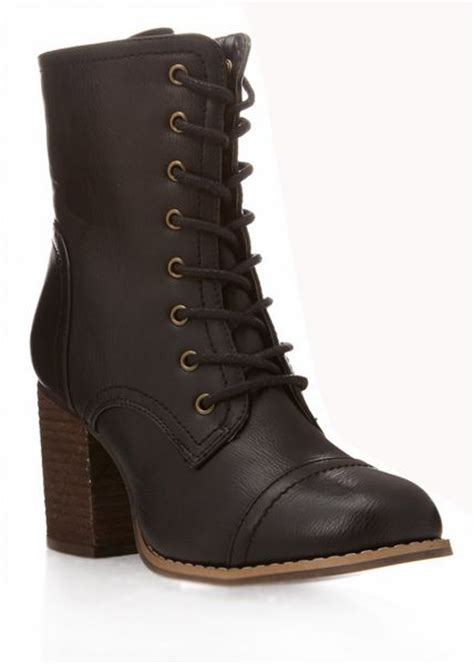 combat boots for forever 21 forever 21 block heel combat boots in black lyst
