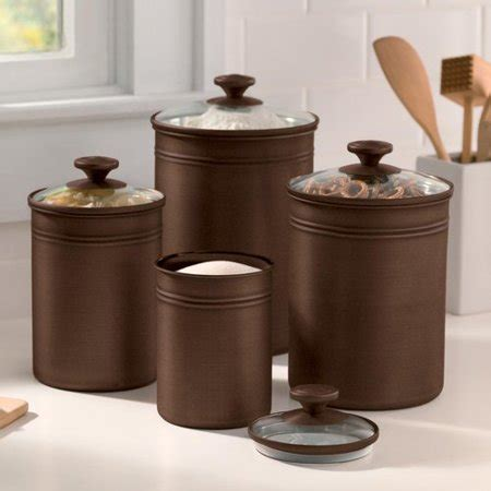walmart kitchen canisters better homes and gardens bronze finished metal canisters