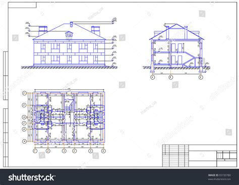 Drawing Z In Autocad by Architectural Drawing House Autocad Vector Stock Vector