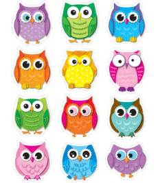 colorful owls colorful owls shape stickers grade pk 5 carson dellosa