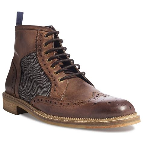 mens cowpe brown lace up leather boots marshall shoes
