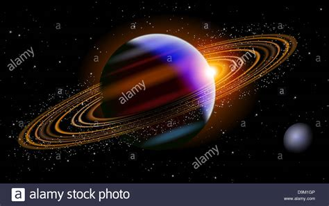 what planet is saturn saturn planet in space with a small planet next to it