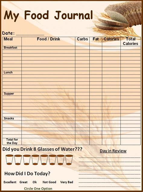 what template is this food log template printable in excel format excel template