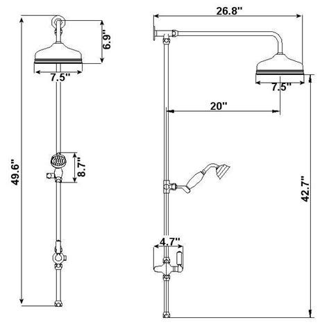 Victorian Grand Rigid Riser Twin Kit Shower with Over Head