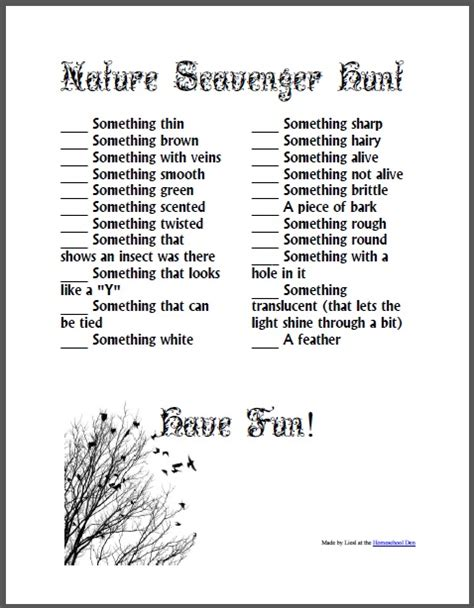 backyard scavenger hunt list nature scavenger hunt free download homeschool den
