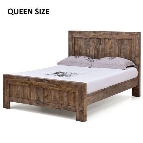 rustic queen bed frame boston queen rustic pine recycled timber bed frame buy