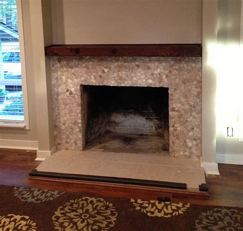 mixed quartz fireplace surround pebble tile shop