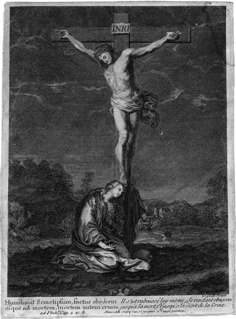 CHRIST EN CROIX AVEC MARIE-MADELEINE - GRAVURE DU 18E SIECLE