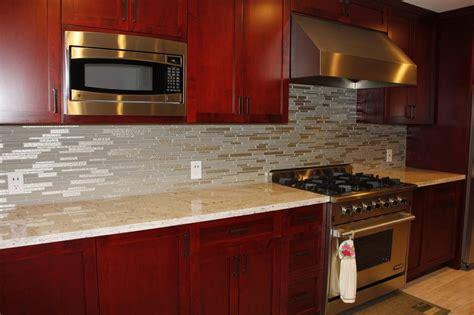 backsplashes for kitchens with granite countertops kitchen granite countertops and glass tile backsplash yelp