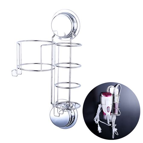 Hair Dryer And Straightener Holder For Wall stainless steel hair dryer holder straightener curling basket wall suction cup stand shelf