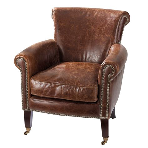 armchairs furniture distressed brown leather armchair cambridge maisons du monde