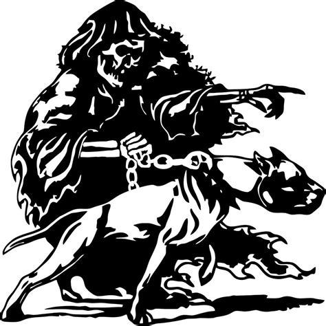 Motorbike Wall Stickers large grim reaper pitbull dog chain skull car truck window
