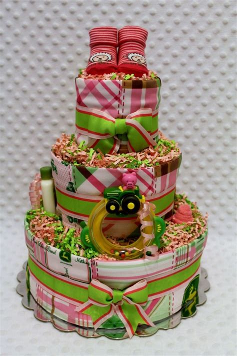 Pink Deere Baby Shower by Pink Country Farm Tractors Baby Cake