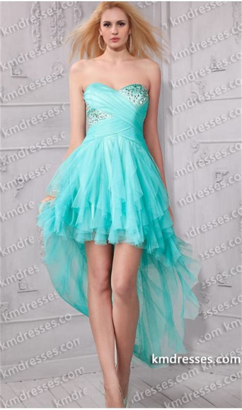 Super cute jewelled high low strapless sweetheart ruffled prom dress