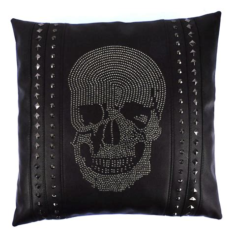 cushions for black leather rhinestone skull black leather jumbo cushion 45cm 18