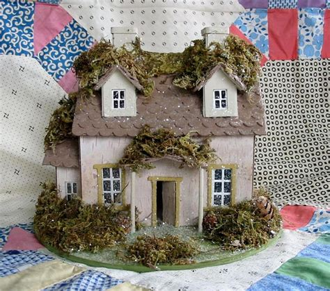 bungalow christmas house primitive putz medium mossy house cottage paper mache ebay