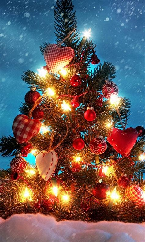 christmas themes for your phone 480x800 christmas tree heart love decorations lg phone