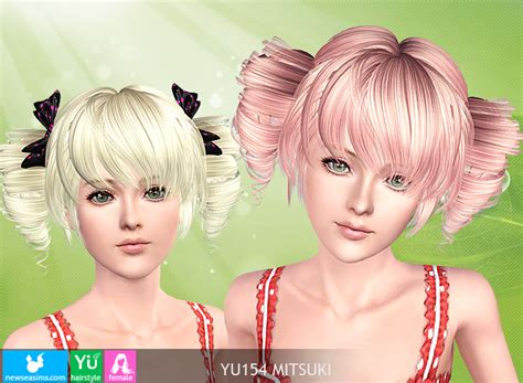sims 3 custom content females hair bow tornado tails hairstyle yu154 mitsuki by new sea sims