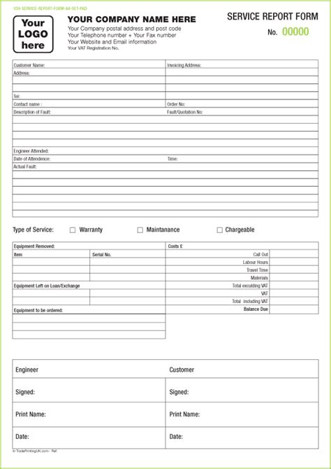 free service report forms templates service report sets