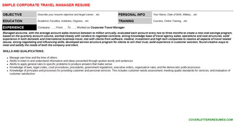 Business Travel Sales Manager Cover Letter by Corporate Travel Manager Cover Letter Resume 56154