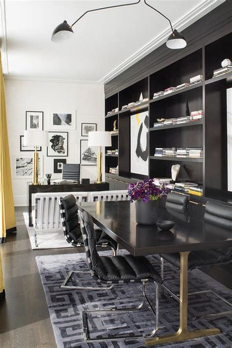 Narrow Home Office Design Black Built In Cabinets Contemporary Den Library