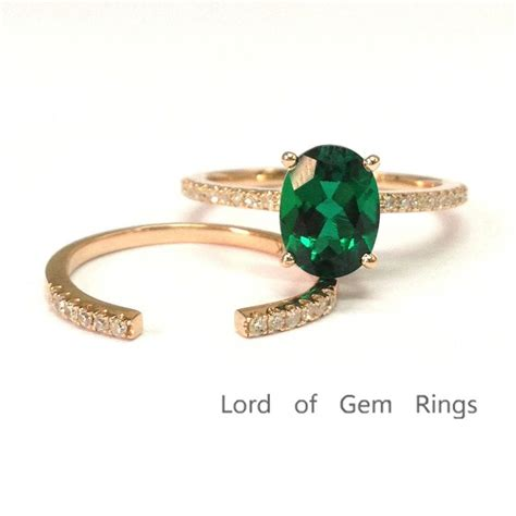 528 oval emerald engagement ring sets pave