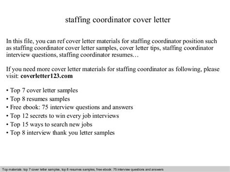 cover letter to staffing agency sle staffing coordinator cover letter