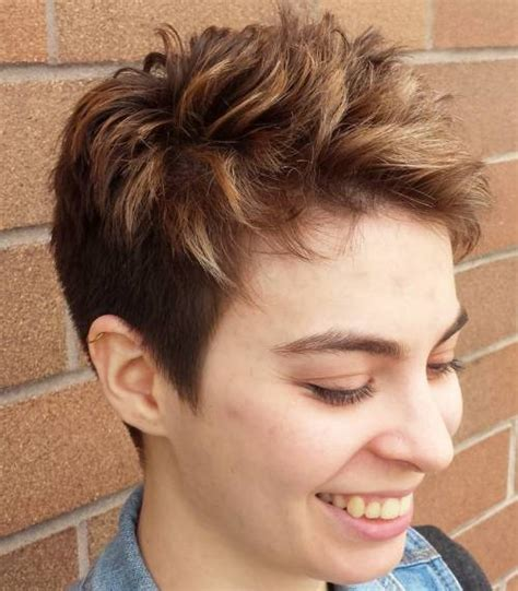 edgy pixie brown with blonde highlights 60 cute short pixie haircuts femininity and practicality