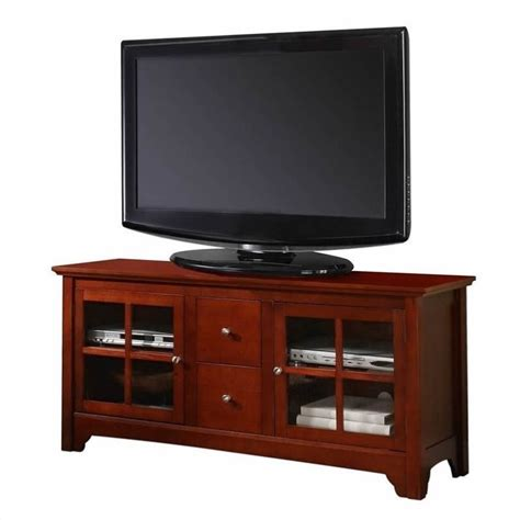 Stands With Drawers by Walker Edison 52 Inch Solid Wood Tv Stand With Drawers