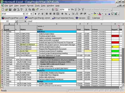 free project planner template excel plan templates in excel planning template a