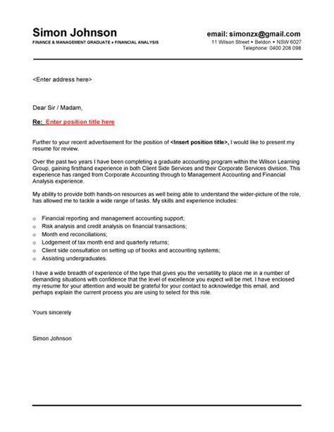 finance graduate cover letter