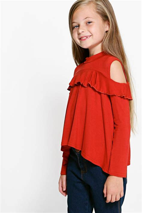 Rufle Top open shoulder ruffle top at boohoo