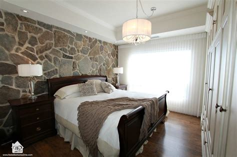 master bedroom  stone wall feature contemporary