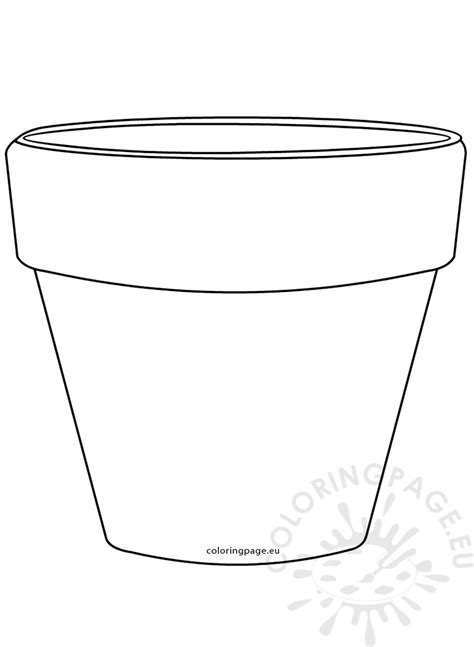 coloring page of a flower pot printable flower pot shape image coloring page