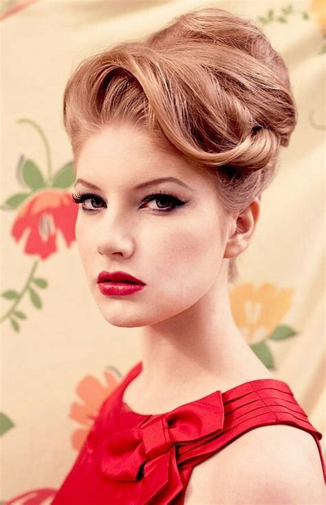 retro hairstyle updo short hair modern 60s updo 50s christmas party pinterest updo