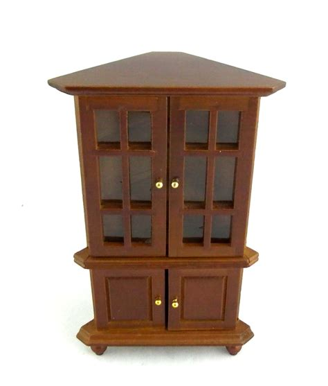 Corner Cabinet Furniture Dining Room Dolls House Miniature Living Dining Room Furniture Walnut Corner China Cabinet